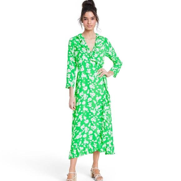 RIXO Daisy Ruffle Wrap Dress